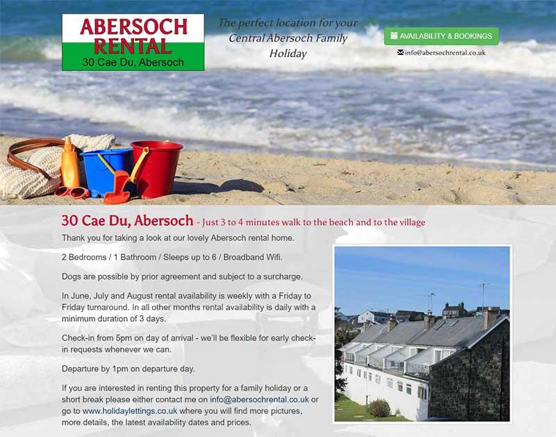 Screenshot of the Abersoch Holiday Rental Website