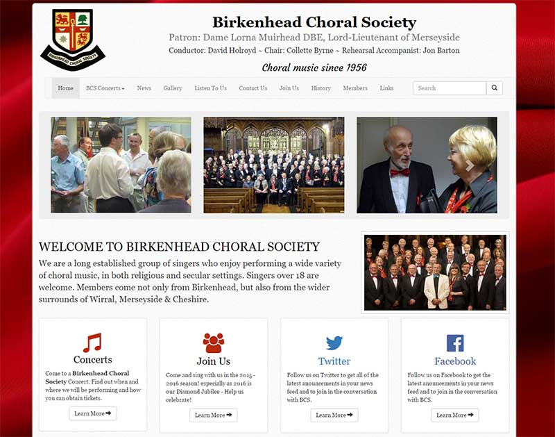 Screenshot of the Birkenhead Choral Society CMS Website