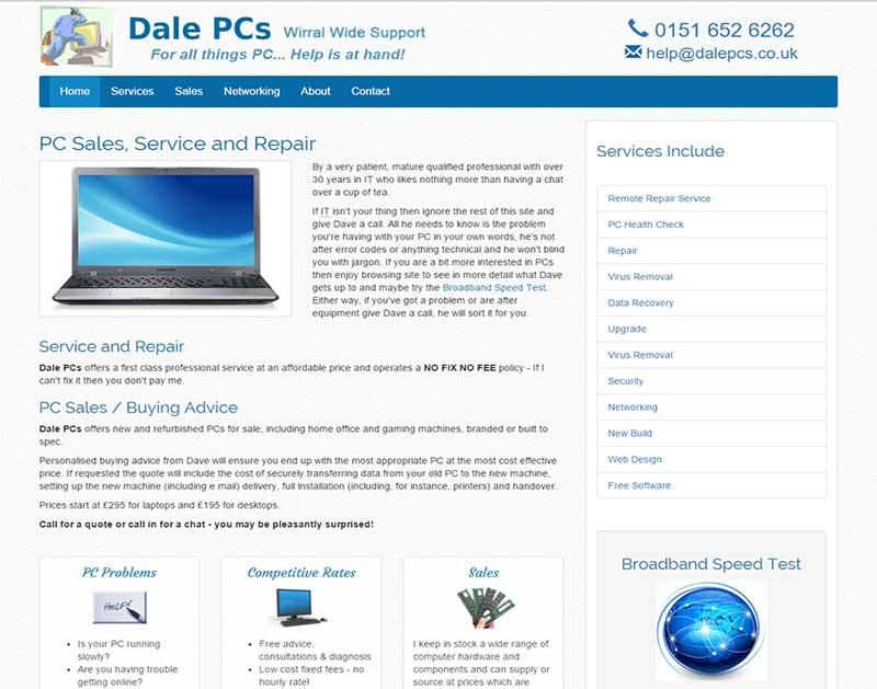 Screenshot of the Dale PCs Website