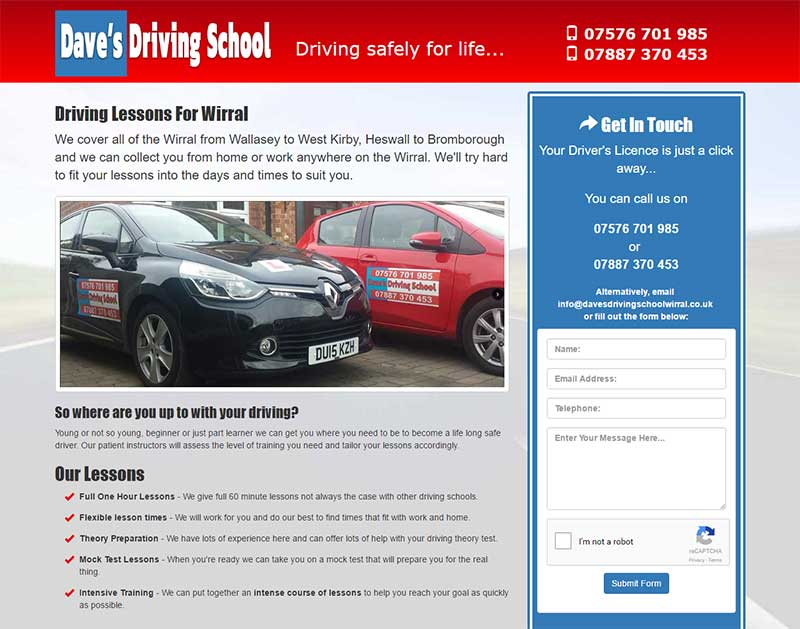 Screenshot of the Dave's Driving School Website