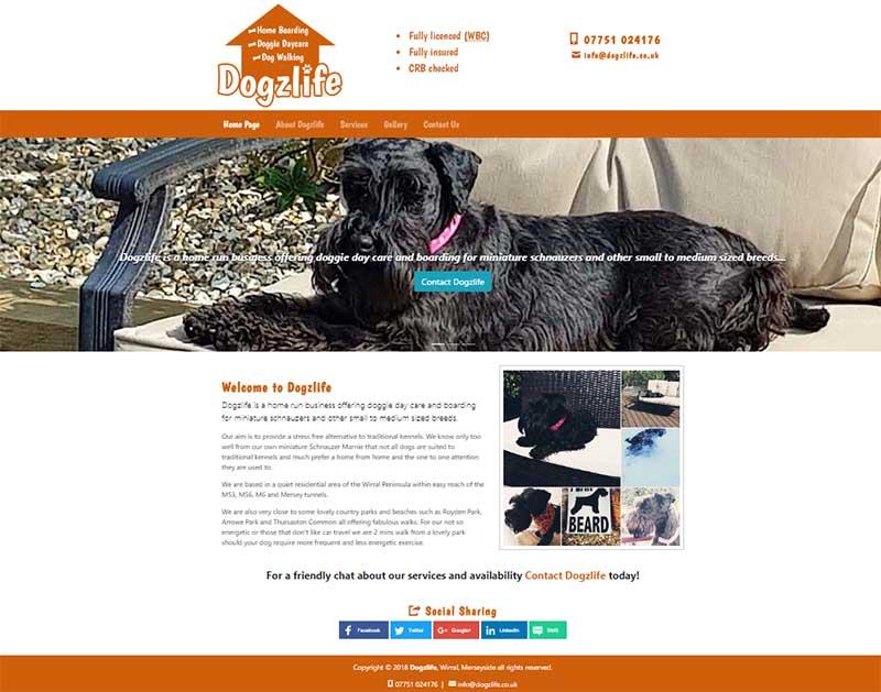 Screenshot of the Dogzlife Website