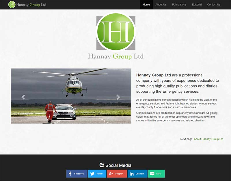 Screenshot of the Hannay Group Website