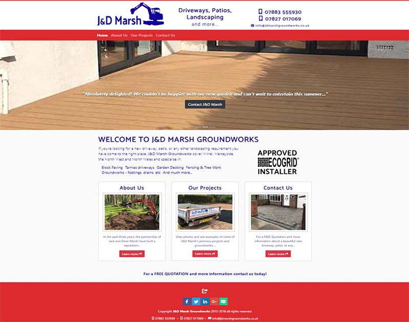 Screenshot of J&D Marsh Groundworks Website