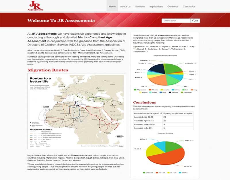 Screenshot of the JR Assessments Website