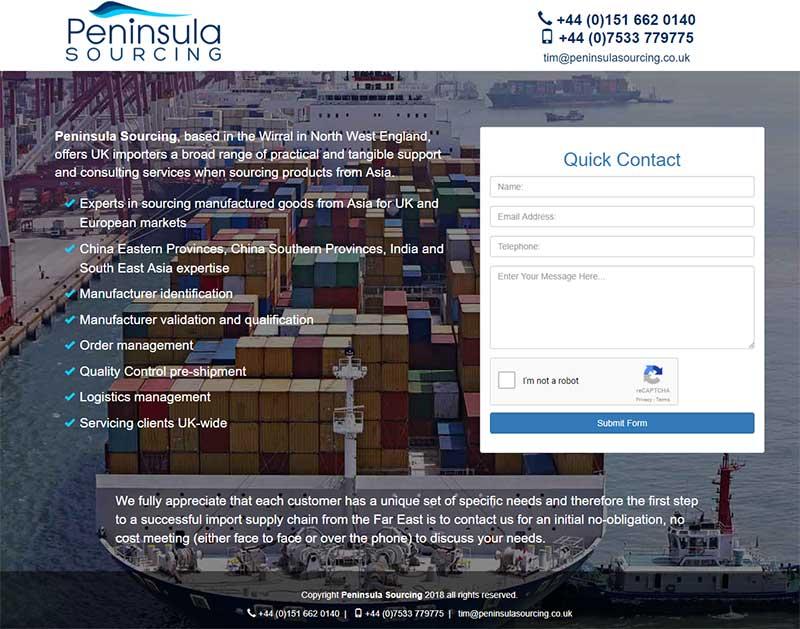 Screenshot of the Peninsula Sourcing Website