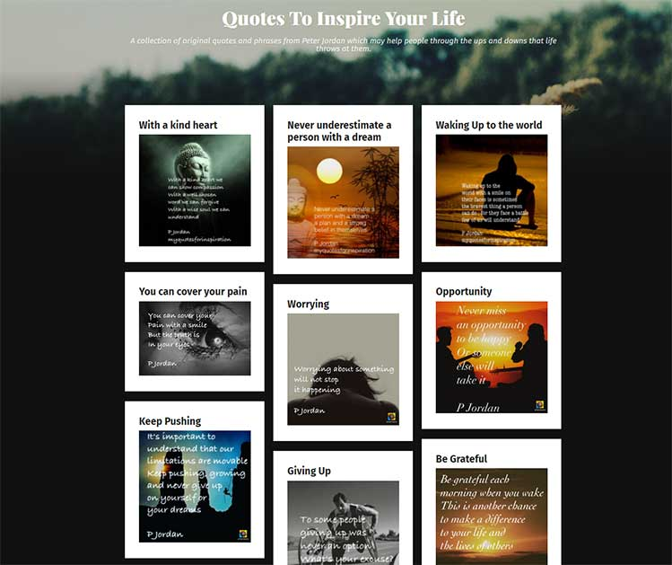Screenshot of the Quotes To Inspire Your Life Website