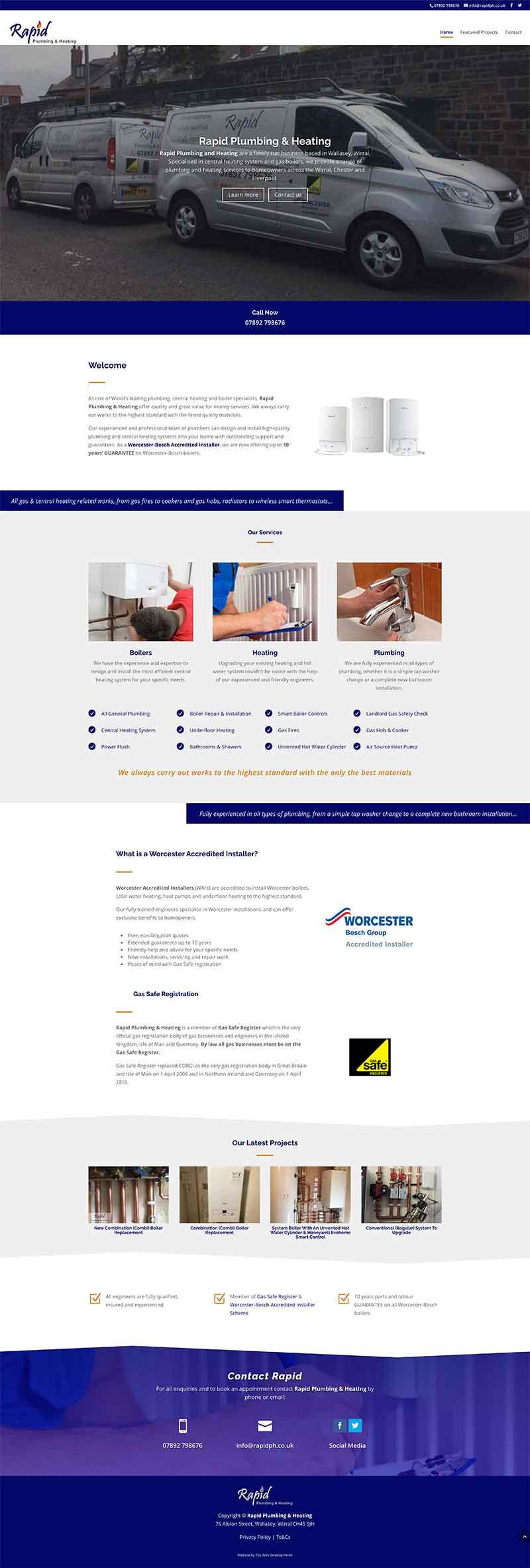 Full page screenshot of Rapid Plumbing & Heating website