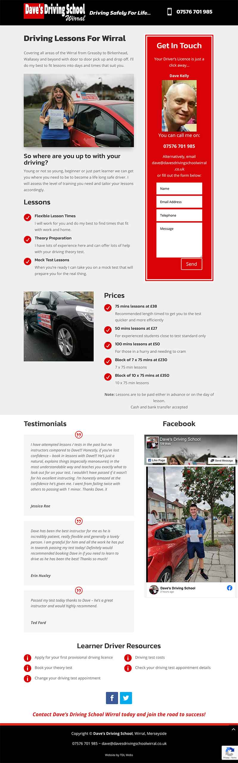 Full page screenshot of Dave's Driving School Wirral website